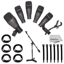 Samson DK705 5-Piece Drum Microphone Kit + Samson MB1 Mini Boom Stand + 5x Mic Cable, 20 ft. XLR Bulk + Op/Tech Strapeez, Black + Photo4Less Cleaning Cloth - Valued Accessory Bundle
