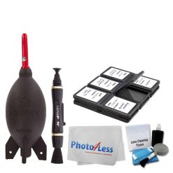 Giottos AA1900 Rocket Blaster Dust-Removal Tool Large – Black + 12 PC. Foldable Memory Card Case + Photo4Less Camera & Lens Cleaning Cloth + Original Lenspen Lens Cleaning Pen + 5 Piece Cleaning Kit