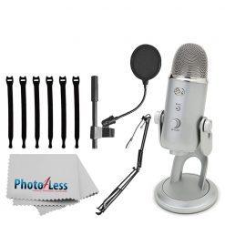 "Blue Yeti USB Microphone (Silver) + On-Stage MBS5000 Broadcast/Webcast Boom Arm w/ XLR Cable + On Stage Pop Blocker 4"" + Op/Tech Strapeez + Photo4Less Camera & Lens Cleaning Cloth – Full Bundle"