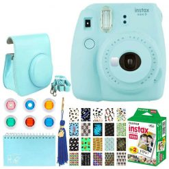 Fujifilm Instax Mini 9 Instant Camera (Ice Blue) + Fujifilm Instax Mini Twin Pack Instant Film (60 Exposures) + Glitter Hard Case + Scrapbooking Album + Colored Lens Filters + Neck Strap – Full Kit