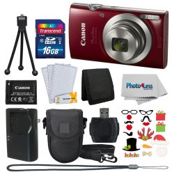 Canon PowerShot ELPH 180 (Red) with 20.0 MP CCD Sensor and 8x Optical Zoom Holiday Kit