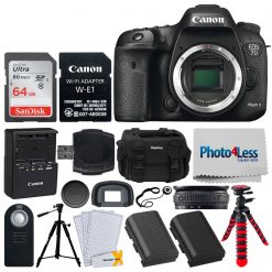 Canon EOS 7D Mark II DSLR Camera Body with W-E1 Wi-Fi Adapter + 64GB Memory Card + Canon RC-6 Wireless Remote + Digital SLR Gadget Bag + Photo/Video Quality Tripod + Cleaning Kit + Complete Bundle