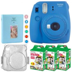 Fujifilm Instax Mini 9 Instant Camera (Cobalt Blue) + Fujifilm Instax Mini Twin Pack Instant Film (60 Exposures) + Glitter Hard Case + Album 128 Photos + 6 Colored Lens Filters – Full Accessory Bundle