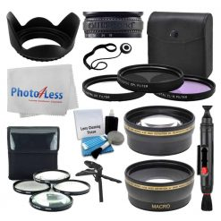 58mm Lens 3 Piece Filter Accessory Kit for Canon, Nikon, Sony, Samsung, UV/CPL/FLD + Telephoto & Wide Angle Lens + Lens Hood + 4 Piece Macro Filter Kit + Tabletop Tripod/Handgrip - Ultimate Bundle