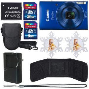 Canon PowerShot ELPH 190 IS (Blue) with 10x Optical Zoom and Built-In Wi-Fi+16 GB Memory Card+8 GB Memory Card+Camera Case+2 Holiday Ornaments+Memory Card Wallet