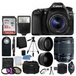Canon EOS 80D DSLR Camera Body + Canon EF-S 18-55mm f/3.5-5.6 IS STM + 58mm 2x Lens + Wide Angle Lens + 32GB Memory Card + UV Filter Kit + Bag + Flash + RC-6 Remote + Full Tripod + Great Value Kit