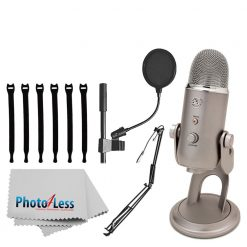"Blue Yeti USB Microphone (Platinum) + On-Stage MBS5000 Broadcast/Webcast Boom Arm w/ XLR Cable + On Stage Pop Blocker 4"" + Op/Tech Strapeez + Photo4Less Camera & Lens Cleaning Cloth – Complete Bundle"