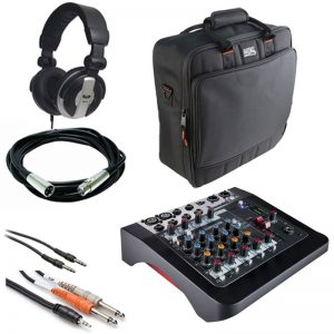 Allen & Heath ZEDi-8 Compact Hybrid Mixer/USB Interface + Gator Cases G-MIXERBAG + Headphone + XLR Mic Cable + Instrument Cable & Stereo Cable