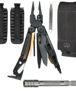 Leatherman Mut Black Tactical Multi Tool With Black Oxide Coating and Molle Sheath + 42 Piece BIT KIT With Scope Wrench + Bit Driver Extension