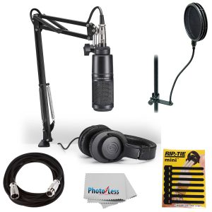 Audio-Technica AT2020 Studio Microphone Pack with ATH-M20x, Boom & XLR Cable