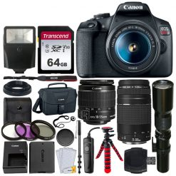 Canon EOS Rebel T7 Digital SLR Camera + 3 Lens Accessory Kit