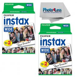 Fujifilm Instax Wide Instant Film Twin Pack X2 40 Exposures + Photo4less Cloth