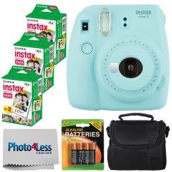 Fujifilm instax mini 9 Instant Film Camera + Fujifilm Instax Mini Twin Pack Instant Film (60 Exposures) + Compact Camera Case + AA Batteries + Cloth - International Version (No Warranty) (Ice Blue)