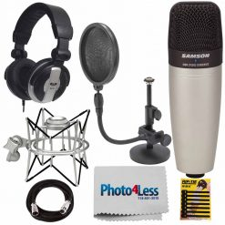 Samson Studio Condenser Mic C01 + MH110 Headphone + Samson Microphone Stand + Accessories