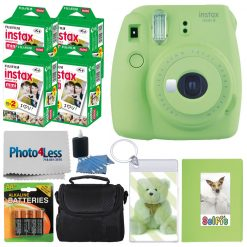 Fujifilm instax mini 9 Instant Film Camera (Lime Green) + Fujifilm Instax Mini Twin Pack Instant Film (80 Shots) + Photo Keychain + Selfie Album + AA Batteries – International Version (No Warranty)
