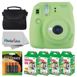 Fujifilm instax mini 9 Instant Film Camera (Lime Green) + Fujifilm Instax Mini Twin Pack Instant Film (80 Shots) + Camera Case + AA Batteries + Accessory Bundle - International Version (No Warranty)