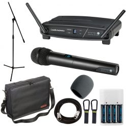 Audio-Technica System 10 ATW-1102 Wireless Handheld Microphone System + Accessory Pack + Stand + Batteries & Charger