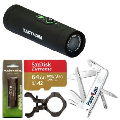 Tactacam TA-5-BOW Package with Custom Mount + Sandisk 64GB microSDXC + Tactacam Rechargeable Battery + Photo4less Limited Edition Victorinox Swiss Army Hiker Pocketknife