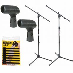 On Stage Euro Boom Microphone Stand + On Stage Mic Clip + Accessories