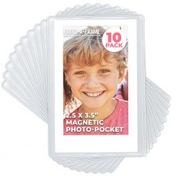 "Clear Magnetic Picture Frames for Refrigerator, 2.5"" x 3.5"" (Wallet size) Pack of 10, Freez-A-Frame"