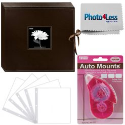 Pioneer Memory Photo Album Box Rich Brown + 5 Refill Pages + Adhesive Mounts