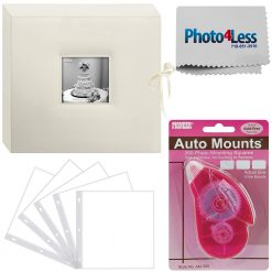 Pioneer Memory Photo Album Box Ivory+ 5 Refill Pages + Adhesive Mounts