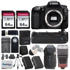 Canon EOS 90D DSLR Camera (Body Only) + Battery Grip + 128GB Memory Card + More