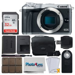 Canon EOS M6 Mirrorless Digital Camera (Body Only, Silver) + 32GB Memory Card + Camera Bag + RC-6 Wireless Remote + 12 Piece Memory Card Holder + USB Card Reader + Screen Protectors + Cleaning Cloth