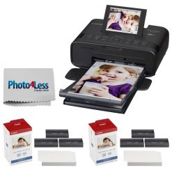 Canon SELPHY CP1300 Compact Photo Printer (Black) + Canon KP-108IN Color Ink and Paper Set + Photo4Less Cleaning Cloth – Top Value Printer Kit