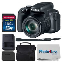 Canon PowerShot SX70 HS Digital Camera + 32GB Card + Case + Photo4Less Cloth