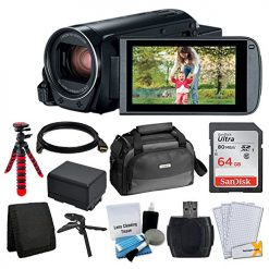 Canon VIXIA HF R82 Camcorder + Canon SC-A80 Soft Case + Sandisk 64GB Memory Card + Extra BP-727 Battery Pack + Flexible, Wrapable Tripod + Card Reader + Screen Protectors + Cleaning Kit + Accessories