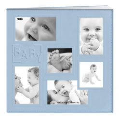 """Pioneer Sewn Embossed Collage Frame Post Bound Album 12""""X12""""-Baby - Blue"""