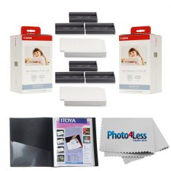 "Canon KP-108IN Color Ink And Paper Set x2 + Itoya Art Profolio Original Storage/Display Book (4 x 6"", 24 Two-Sided Pages) + Photo4Less Cleaning Cloth"