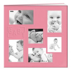 """Pioneer Sewn Embossed Collage Frame Post Bound Album 12""""X12""""-Baby - Pink"""