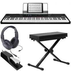 Alesis RECITAL 88-Key Digital Piano with Full-Sized Keys + Alesis Pedal + Samson Headphones + Ultimate Support Keyboard Bench