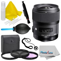 Sigma 35mm f/1.4 DG HSM Art Lens (340306) for Nikon + Top Value Accessory Bundle