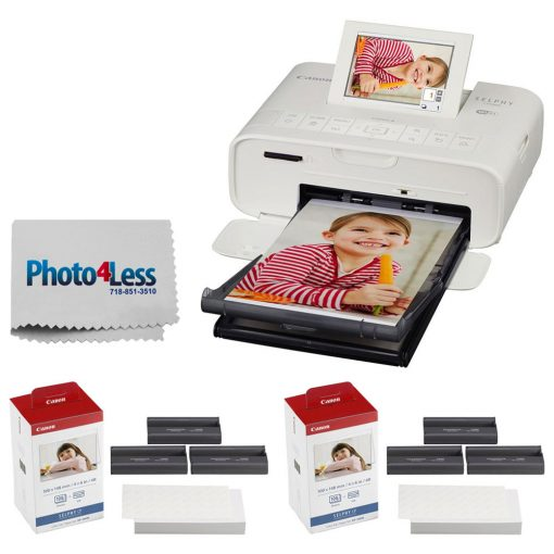 Canon SELPHY CP1300 Compact Photo Printer (White) + Canon KP-108IN Color Ink and Paper Set + Photo4Less Cleaning Cloth Deluxe Printing Bundle