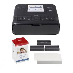 Canon SELPHY CP1300 Compact Photo Printer (Black) + Color Ink Paper Set