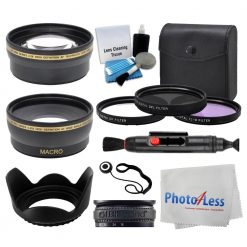58mm Lens 3 Piece Filter Accessory Kit for Canon, Nikon, Sony, Samsung, UV/CPL/FLD + Telephoto Lens + Wide Angle + Lens Hood + Lens Cap Holder + Cleaning Cloth + 5 Piece Cleaning Kit + Deluxe Bundle