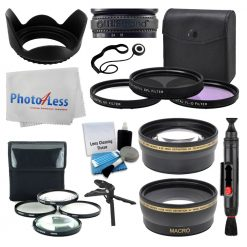 52mm Lens 3 Piece Filter Accessory Kit for Canon, Nikon, Sony, Samsung, UV/CPL/FLD + Telephoto & Wide Angle Lens + Lens Hood + Macro Filter Kit + Tabletop Handgrip + Cleaning Kit + Valued Bundle