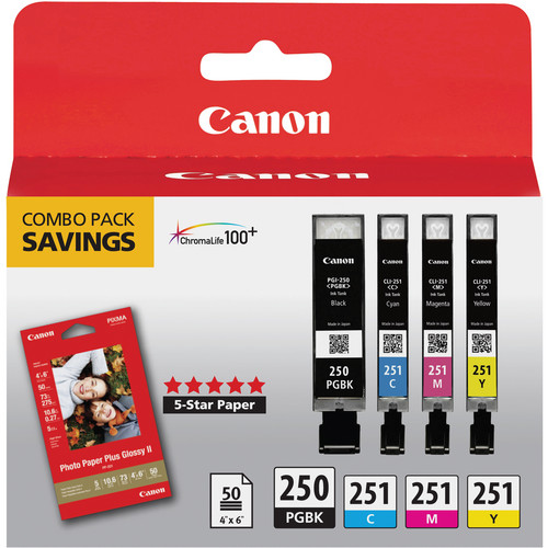 Canon PGI-250 & CLI-251 4-Cartridge Combo Pack with Photo Paper (4 x 6″, 50 Sheets)