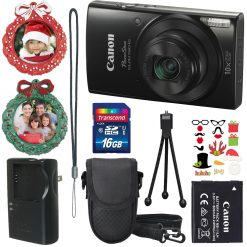 Canon PowerShot ELPH 190 IS (Black) with 10x Optical Zoom and Built-In Wi-Fi+Camera Case+(2) 8 GB SD Cards+Tabletop Tripod+Holiday Accessories