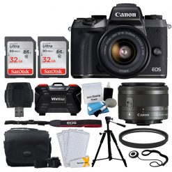 Canon EOS M5 Mirrorless Digital Camera + EF-M 15-45mm IS STM Lens (Graphite) + SanDisk 64GB Memory Card + Deluxe Camera Bag + Quality Tripod + 49mm UV Filter + Card Reader + Hand Grip + Accessories