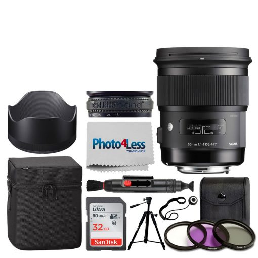 Sigma 50mm f/1.4 DG HSM Art Lens for Canon EF + 77mm 3-Piece Filter Kit UV, CP & FLD Filter + Lens Band, Stop Zoom Creep + 5 Piece Cleaning Kit + Cleaning Cloth & Pen + Lens Cap Holder – Valued Bundle