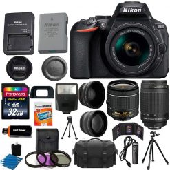 Nikon D5600 DSLR Camera with 18-55mm VR Lens (Black) + 70-300mm + 32GB Top Value Bundle