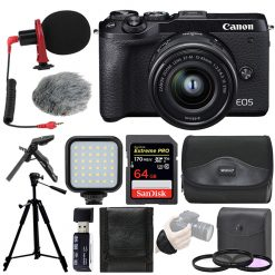 Canon EOS M6 Mark II Mirrorless Digital Camera with 15-45mm Lens Bundle (Black) + Top Value Accessories