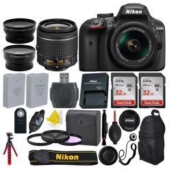 Nikon D3400 DSLR Camera + AF-P 18-55mm 3 Lens + 64GB + More Top Value Bundle