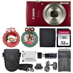 Canon PowerShot ELPH 180 Digital Camera (Red) Top Value Holiday Accessory Bundle