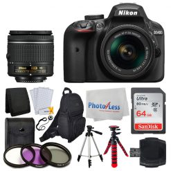 Nikon D3400 SLR Camera + AF-P 18-55 VR Lens + 64GB + Backpack + Dual Tripods Kit