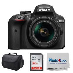 Nikon D3400 DSLR Camera + 18-55mm AF-P DX f/3.5-5.6G VR Lens + 32Gb +Case Bundle